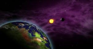 Exoplanets in sistema solare straniero royalty illustrazione gratis