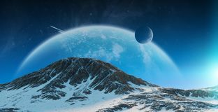 Exoplanets in space 3D rendering elements of this image furnishe Royalty Free Stock Images