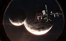 Exoplanets und ISS in der Öffnung des Raumschiffes Weltraum im Licht des roten Sternes Elemente des Bildes werden von der NASA ge stockbild
