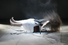 Exorcism or overcoming your inner demons stock photo