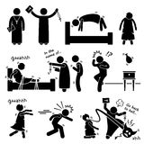 Exorcist Exorcism Evil Demon Spirit Ritual Cliparts Icons. A set of human pictogram representing a girl being possessed by evil demon and how a priest become an royalty free illustration