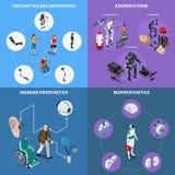 Exoskeleton Bionic Prosthetics Concept Icons Set. With orthopedics symbols isometric isolated vector illustration Royalty Free Stock Image