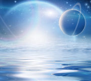 Exosolar Planets Rise over waters Royalty Free Stock Photography
