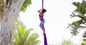 Exotic acrobatic dancer working out on silk ribbon stock footage