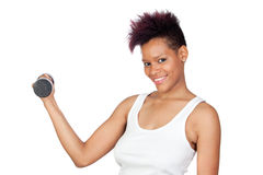 Exotic african girl in the gym lifting weights Stock Images