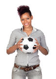 Exotic african girl with a soccer ball Royalty Free Stock Photos
