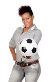 Exotic african girl with a soccer ball Stock Photos