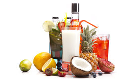 Exotic alcohol drinks set Royalty Free Stock Images