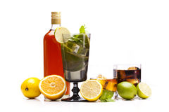 Exotic alcohol drinks set with fruits Stock Photo