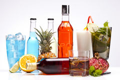 Exotic alcohol drinks set with fruits Royalty Free Stock Photo