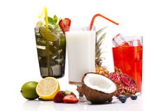 Exotic alcohol drinks set with fruits Royalty Free Stock Image