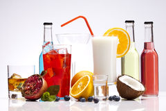 Exotic alcohol drinks set with fruits Royalty Free Stock Images