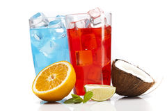 Exotic alcohol drinks set with fruits, cocnut Royalty Free Stock Photos
