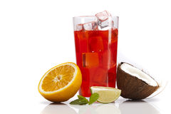 Exotic alcohol drinks set with fruits isolated Stock Images