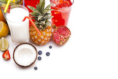 Exotic alcohol drinks set with fruits top view Royalty Free Stock Image
