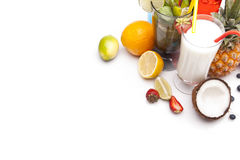Exotic alcohol drinks set top view Stock Image
