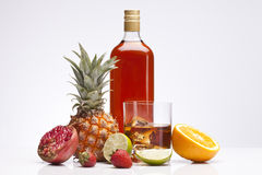Exotic alcohol drinks, set and whisky with fruits Stock Photos