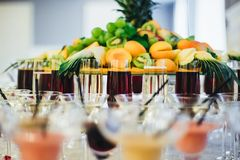 Exotic alcoholic cocktails. Fruit on the table. Alcoholic beverages and fruit buffet stock photos