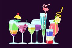 Exotic alcoholic cocktails Stock Images