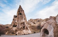 Nunnery inside volcanic rock landscape at Goreme Open air museum,. Exotic ancient Nunnery inside volcanic rock landscape at Goreme Open air museum, Cappadocia Royalty Free Stock Photos
