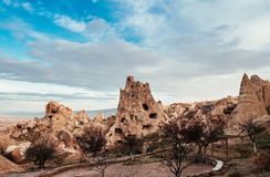 Nunnery inside volcanic rock landscape at Goreme Open air museum,. Exotic ancient Nunnery inside volcanic rock landscape at Goreme Open air museum, Cappadocia Stock Photography