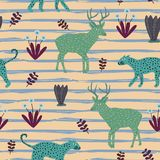 Exotic animal pattern vector. Seamless childish drawing cute jaguar, deer, and floral colorful background for kids and children cl. Othing textile ready for stock illustration