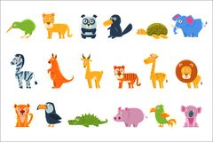 Exotic Animals Fauna Set. Of Silly Childish Drawings Isolated On Background. Funny Animal Colorful Vector Stickers Set stock illustration
