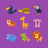 Exotic Animals Fauna Set. Of Silly Childish Drawings  On Purple Background. Funny Animal Colorful Vector Stickers Set Royalty Free Stock Photos
