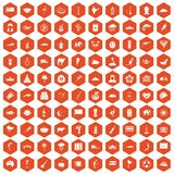 100 exotic animals icons hexagon orange. 100 exotic animals icons set in orange hexagon isolated vector illustration royalty free illustration