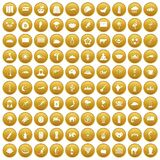 100 exotic animals icons set gold. 100 exotic animals icons set in gold circle isolated on white vectr illustration Vector Illustration