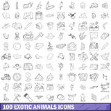 100 exotic animals icons set, outline style Royalty Free Stock Image