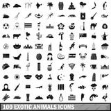 100 exotic animals icons set, simple style Royalty Free Stock Images
