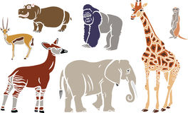 Exotic Animals Set. With Giraffe, Elephant, Okapi, Gorilla, Hippo, Meerkat and Antelope Stock Photos