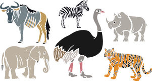 Exotic Animals Set Stock Photo