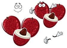 Exotic asian cartoon lychee fruit character Royalty Free Stock Image