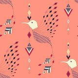 Exotic aztec birds seamless pattern. Geometric abstract tribal style. Vector illustration Stock Illustration