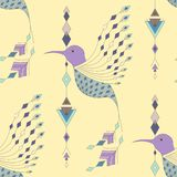 Exotic aztec birds seamless pattern. Geometric abstract tribal style. Vector illustration Royalty Free Stock Photography