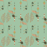 Exotic aztec birds seamless pattern. Geometric abstract tribal style. Vector illustration Royalty Free Stock Images