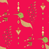 Exotic aztec birds seamless pattern. Geometric abstract tribal style. Vector illustration Royalty Free Stock Photo