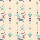 Exotic aztec birds seamless pattern. Geometric abstract tribal style. Vector illustration Stock Image