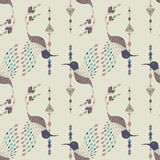 Exotic aztec birds seamless pattern. Geometric abstract tribal style. Vector illustration Royalty Free Stock Image