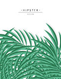 Exotic background with green palm leave for design. Hipster Stock Photography