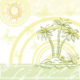Exotic background, island a with palm Royalty Free Stock Photos