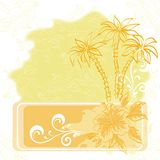 Exotic background, palm and flowers Royalty Free Stock Photography