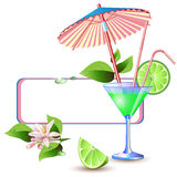 Exotic banner with juicy slices of lime fruit stock illustration