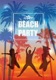 Exotic Banner with Palm Trees and People Silhouettes for Party. Stock Photo