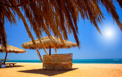 Exotic Beach And Gulf Against Blue Sky. Royalty Free Stock Image