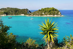 Exotic beach. A beautiful azure lagoon - Exotic Holidays. Paxos island royalty free stock photography