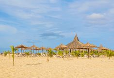 Exotic beach in Cape Verde, Africa. View of exotic beach resort in Boa Vista, Cape Verde, Africa Royalty Free Stock Photos