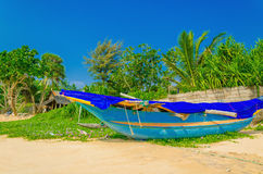 Exotic beach with colorful boat, Sri Lanka, Asia Royalty Free Stock Photography